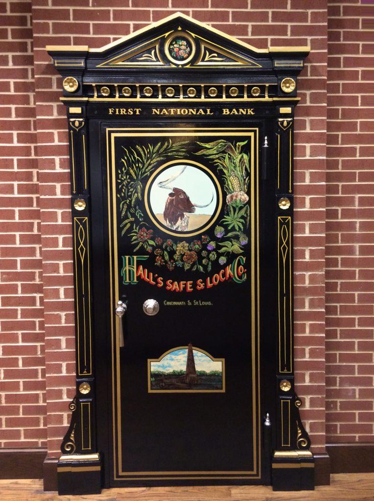 Old Bank Vault door re-purposed in lobby.